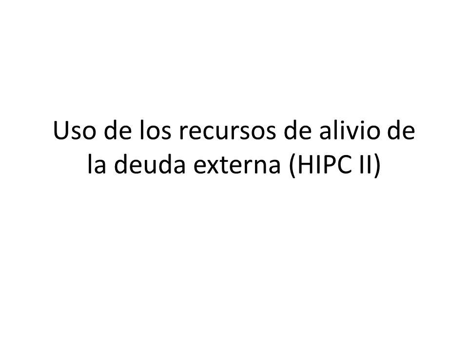 Uso de los recursos de alivio de la deuda externa (HIPC II)
