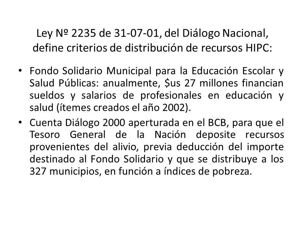 Ley Nº 2235 de 31-07-01, del Diálogo Nacional, define criterios de distribución de recursos HIPC: Fondo Solidario Municipal para la Educación Escolar y Salud Públicas: anualmente, $us 27 millones financian sueldos y salarios de profesionales en educación y salud (ítemes creados el año 2002).