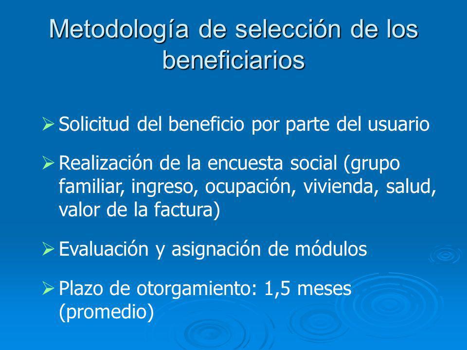Metodología de selección de los beneficiarios Solicitud del beneficio por parte del usuario Realización de la encuesta social (grupo familiar, ingreso