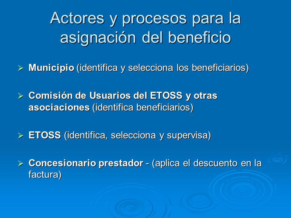 Actores y procesos para la asignación del beneficio Municipio (identifica y selecciona los beneficiarios) Municipio (identifica y selecciona los beneficiarios) Comisión de Usuarios del ETOSS y otras asociaciones (identifica beneficiarios) Comisión de Usuarios del ETOSS y otras asociaciones (identifica beneficiarios) ETOSS (identifica, selecciona y supervisa) ETOSS (identifica, selecciona y supervisa) Concesionario prestador - (aplica el descuento en la factura) Concesionario prestador - (aplica el descuento en la factura)