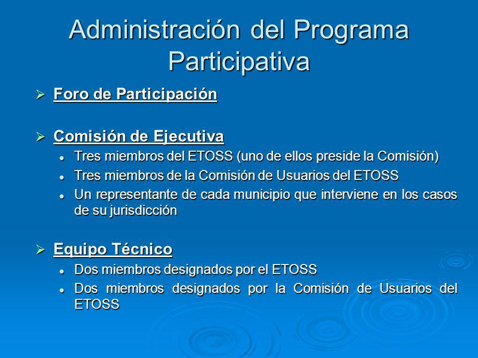 Administración del Programa Participativa Foro de Participación Foro de Participación Comisión de Ejecutiva Comisión de Ejecutiva Tres miembros del ET