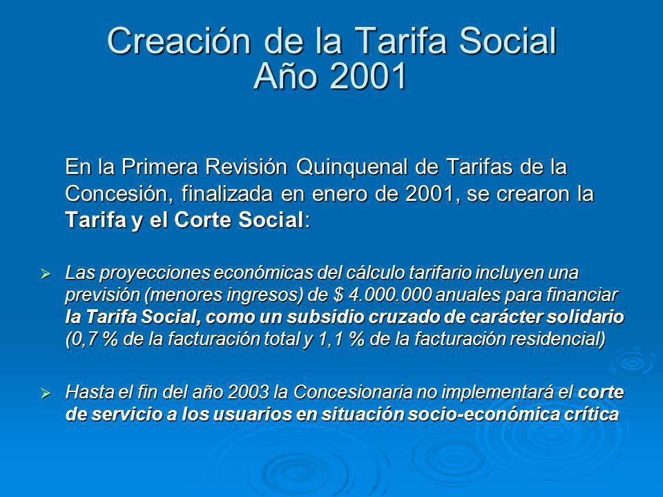 Creación de la Tarifa Social Año 2001 En la Primera Revisión Quinquenal de Tarifas de la Concesión, finalizada en enero de 2001, se crearon la Tarifa