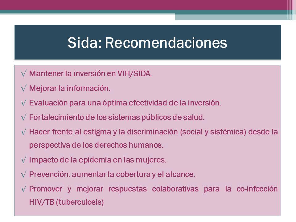 Sida: Recomendaciones Mantener la inversión en VIH/SIDA.