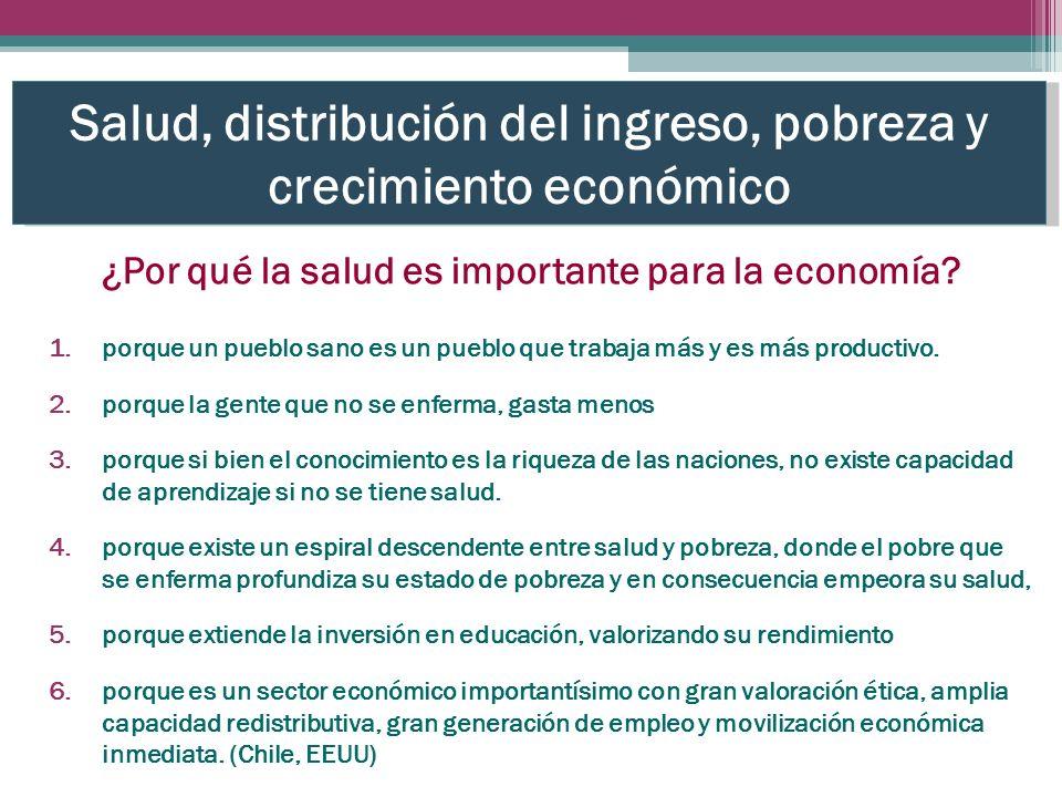 Salud, distribución del ingreso, pobreza y crecimiento económico 1.porque un pueblo sano es un pueblo que trabaja más y es más productivo.
