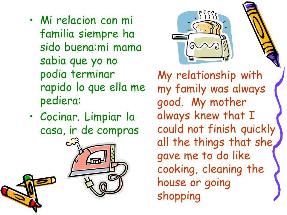 Mi relacion con mi familia siempre ha sido buena:mi mama sabia que yo no podia terminar rapido lo que ella me pediera: Cocinar. Limpiar la casa, ir de