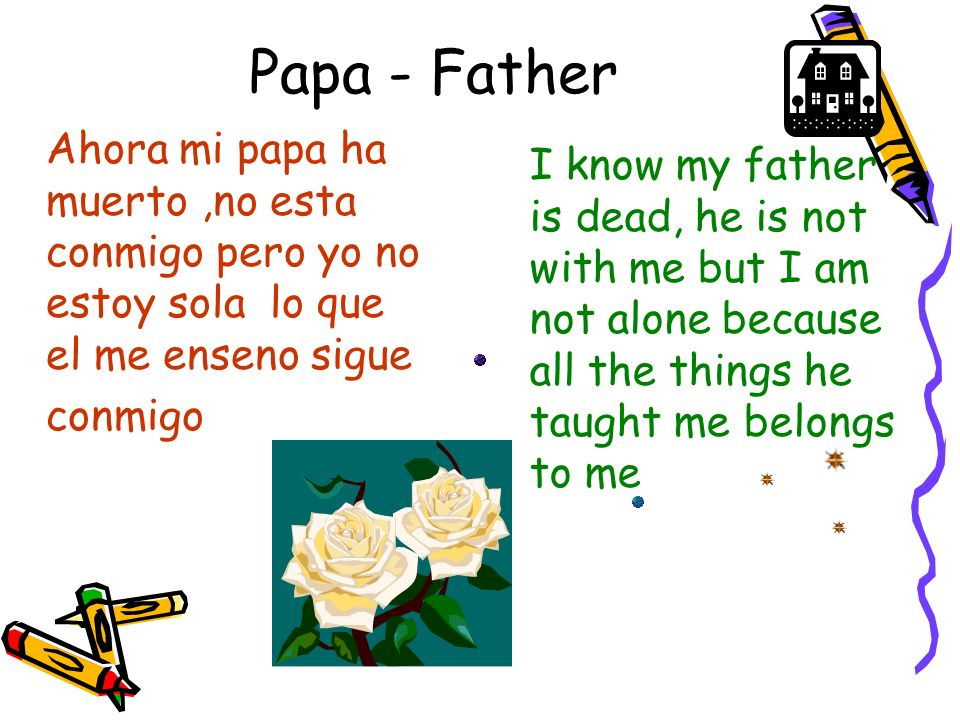 Papa - Father I know my father is dead, he is not with me but I am not alone because all the things he taught me belongs to me Ahora mi papa ha muerto