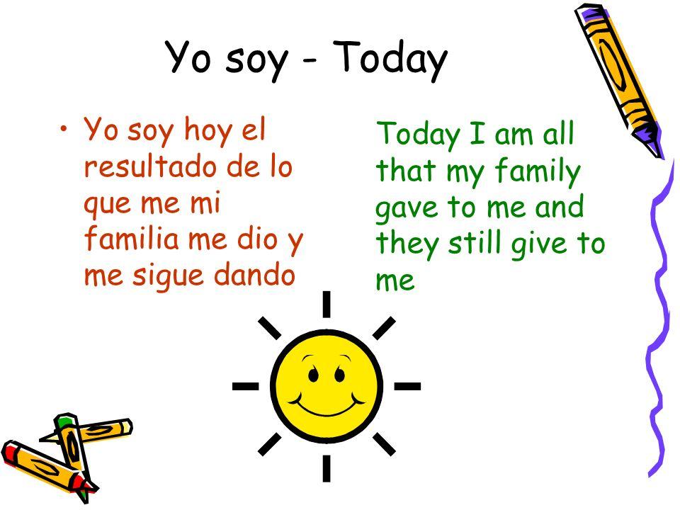 Yo soy - Today Yo soy hoy el resultado de lo que me mi familia me dio y me sigue dando Today I am all that my family gave to me and they still give to