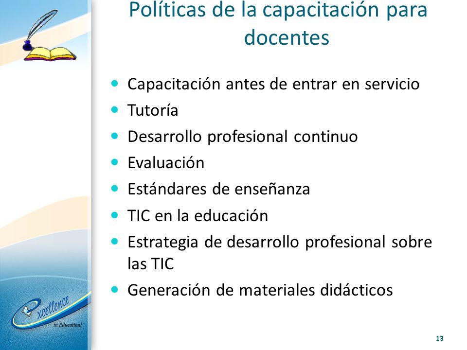 Políticas de la capacitación para docentes Capacitación antes de entrar en servicio Tutoría Desarrollo profesional continuo Evaluación Estándares de e
