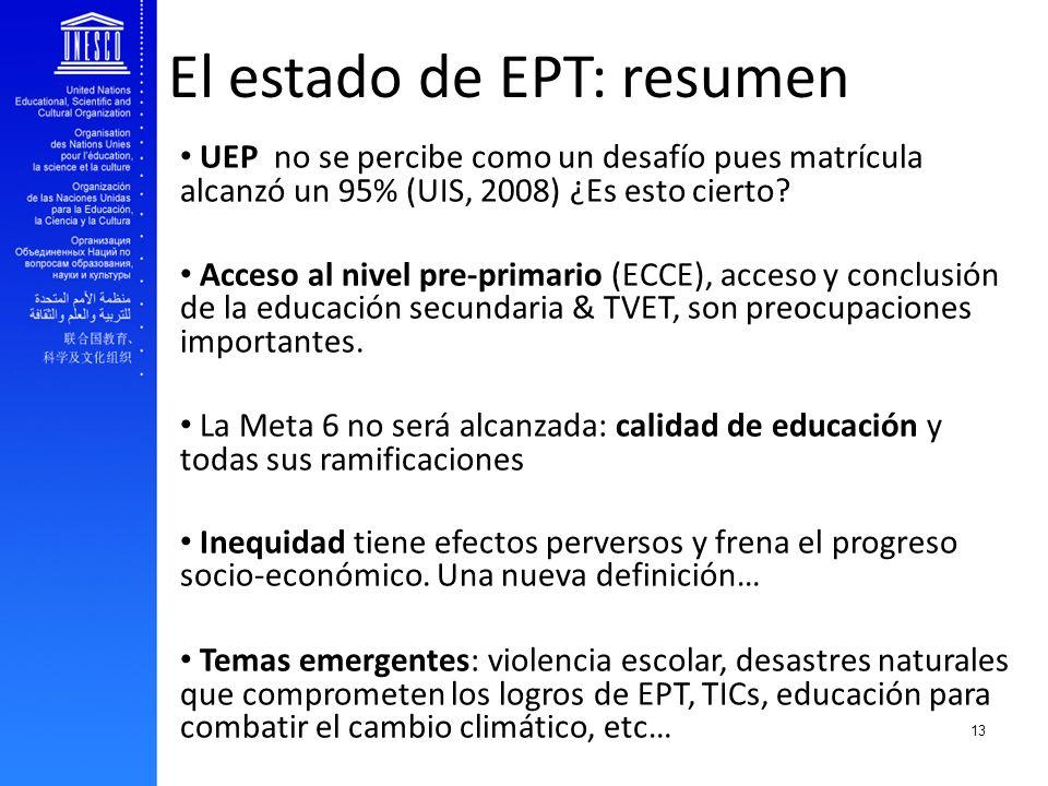 EFA and youth transition to work El estado de EPT: resumen UEP no se percibe como un desafío pues matrícula alcanzó un 95% (UIS, 2008) ¿Es esto cierto
