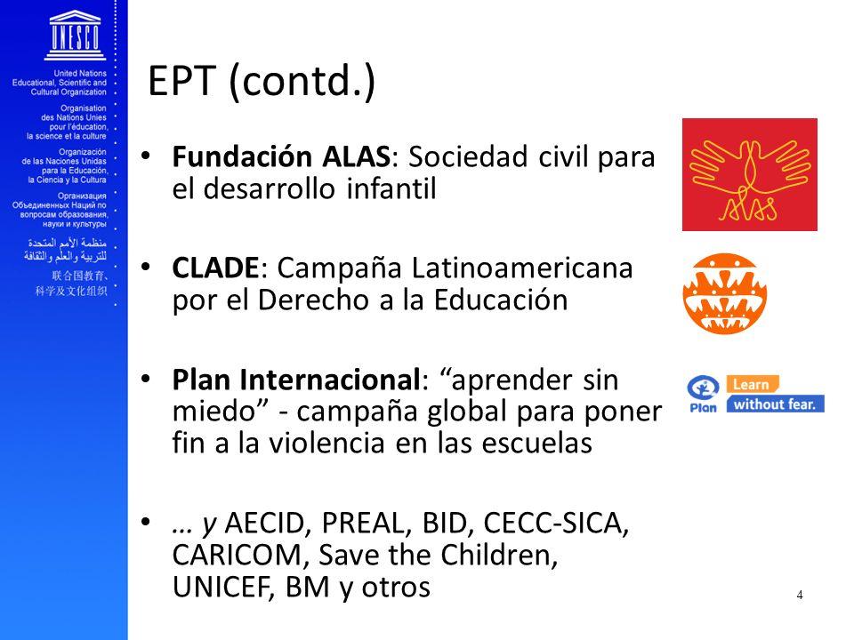 EFA and youth transition to work EPT (contd.) Fundación ALAS: Sociedad civil para el desarrollo infantil CLADE: Campaña Latinoamericana por el Derecho