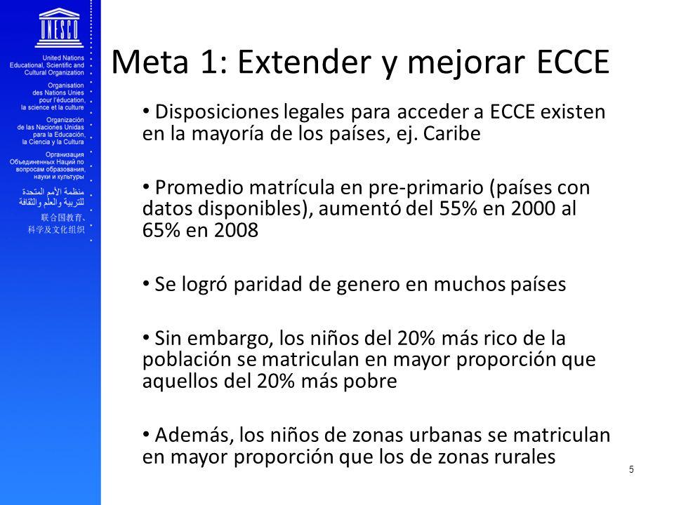 EFA and youth transition to work Meta 1: Extender y mejorar ECCE Disposiciones legales para acceder a ECCE existen en la mayoría de los países, ej. Ca