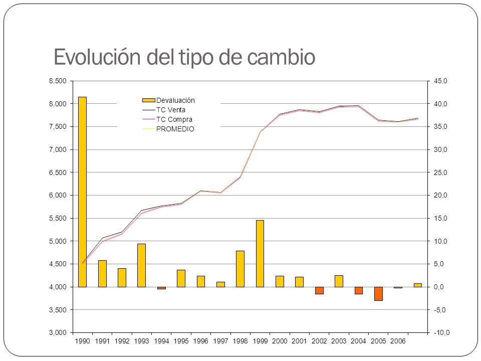 Volatilidad de la inflación PeríodoInflación promedio Desviación estándar Coeficiente de variación 1990 - 1994 21,4621,49 1,00 1995 – 1999 7,802,2 0,28 2000 – 2004 7,081,9 0,26 2005 – 2007 7,701,7 0,22