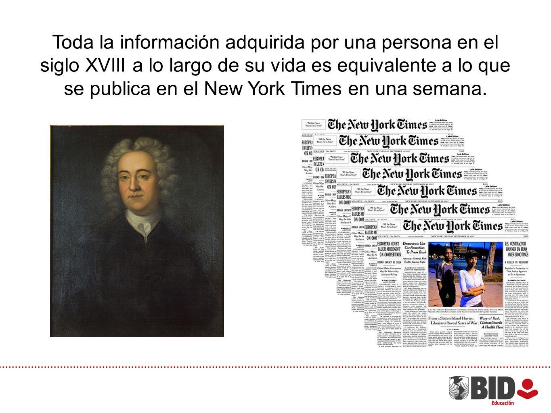 Toda la información adquirida por una persona en el siglo XVIII a lo largo de su vida es equivalente a lo que se publica en el New York Times en una s