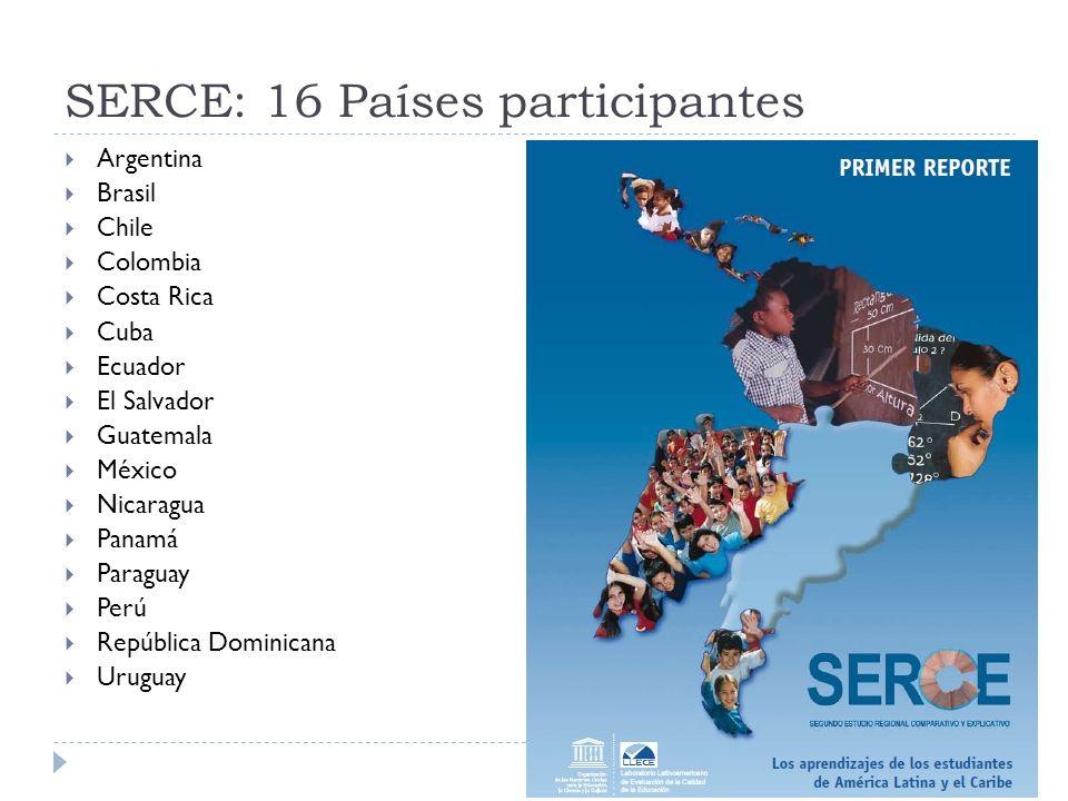 SERCE: 16 Países participantes Argentina Brasil Chile Colombia Costa Rica Cuba Ecuador El Salvador Guatemala México Nicaragua Panamá Paraguay Perú Rep