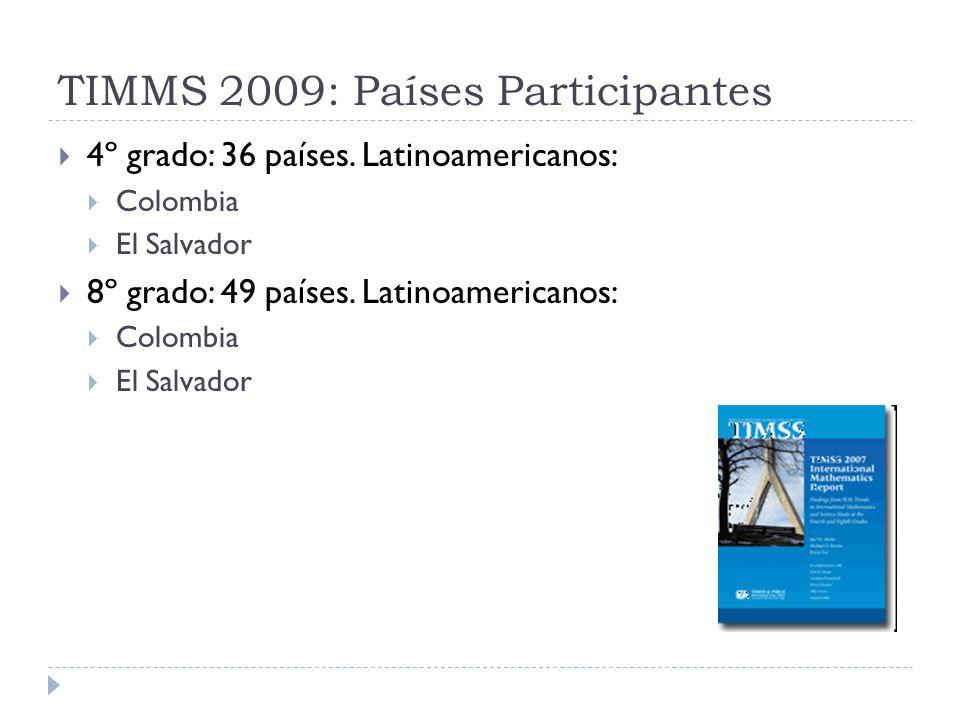TIMMS 2009: Países Participantes 4º grado: 36 países. Latinoamericanos: Colombia El Salvador 8º grado: 49 países. Latinoamericanos: Colombia El Salvad