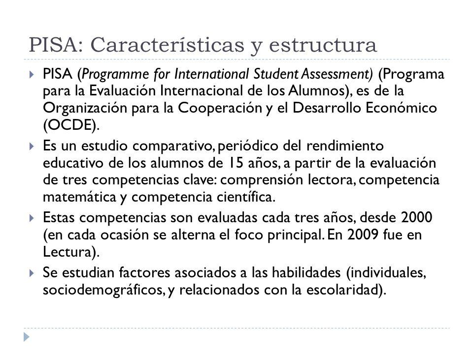 PISA 2009: Países Participantes 65 países, 9 de Latinoamérica y el Caribe: Argentina Brasil Chile Colombia México Perú Panamá Trinidad y Tobago Uruguay.