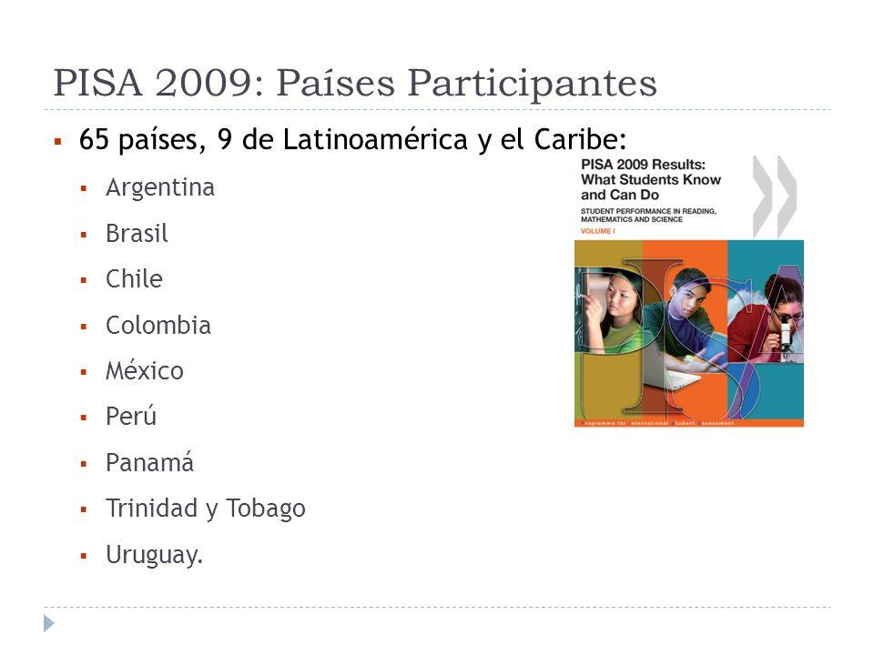 PISA 2009: Países Participantes 65 países, 9 de Latinoamérica y el Caribe: Argentina Brasil Chile Colombia México Perú Panamá Trinidad y Tobago Urugua