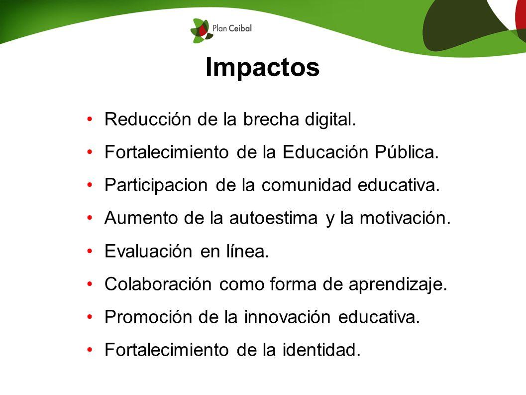 Impactos Reducción de la brecha digital. Fortalecimiento de la Educación Pública. Participacion de la comunidad educativa. Aumento de la autoestima y