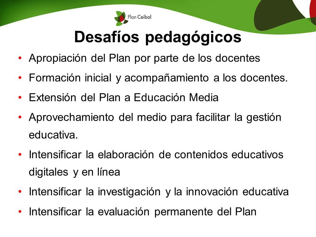 Desafíos pedagógicos Apropiación del Plan por parte de los docentes Formación inicial y acompañamiento a los docentes. Extensión del Plan a Educación