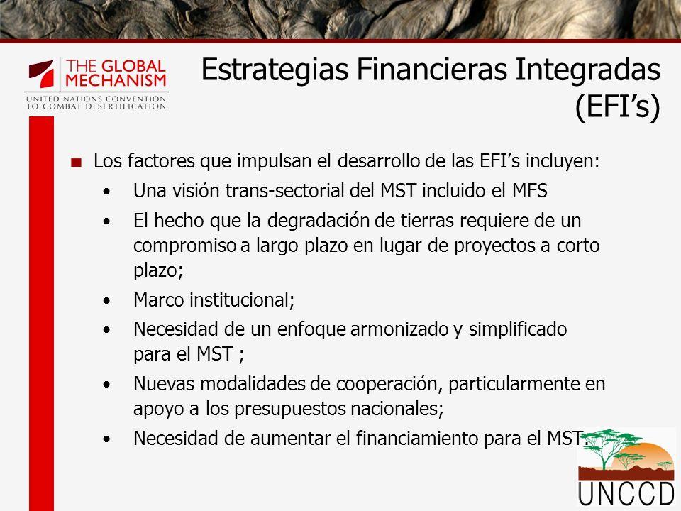 Los factores que impulsan el desarrollo de las EFIs incluyen: Una visión trans-sectorial del MST incluido el MFS El hecho que la degradación de tierras requiere de un compromiso a largo plazo en lugar de proyectos a corto plazo; Marco institucional; Necesidad de un enfoque armonizado y simplificado para el MST ; Nuevas modalidades de cooperación, particularmente en apoyo a los presupuestos nacionales; Necesidad de aumentar el financiamiento para el MST.