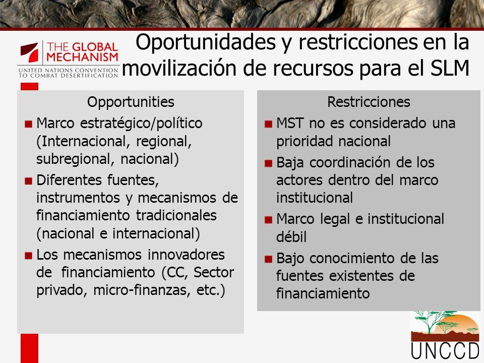 Restricciones MST no es considerado una prioridad nacional Baja coordinación de los actores dentro del marco institucional Marco legal e institucional
