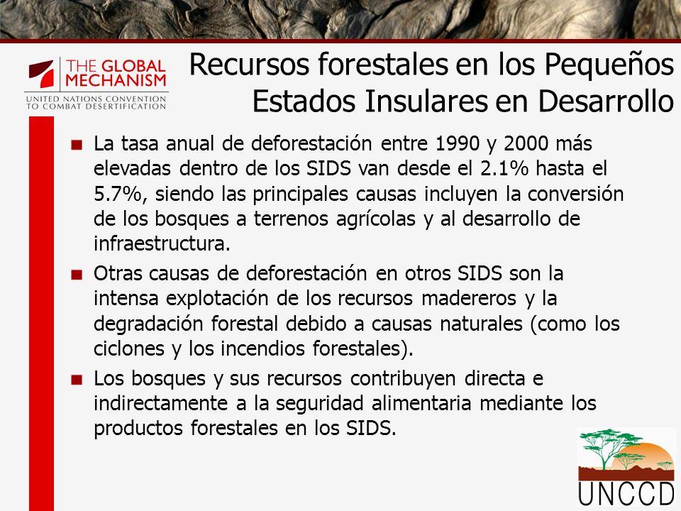 La tasa anual de deforestación entre 1990 y 2000 más elevadas dentro de los SIDS van desde el 2.1% hasta el 5.7%, siendo las principales causas incluy