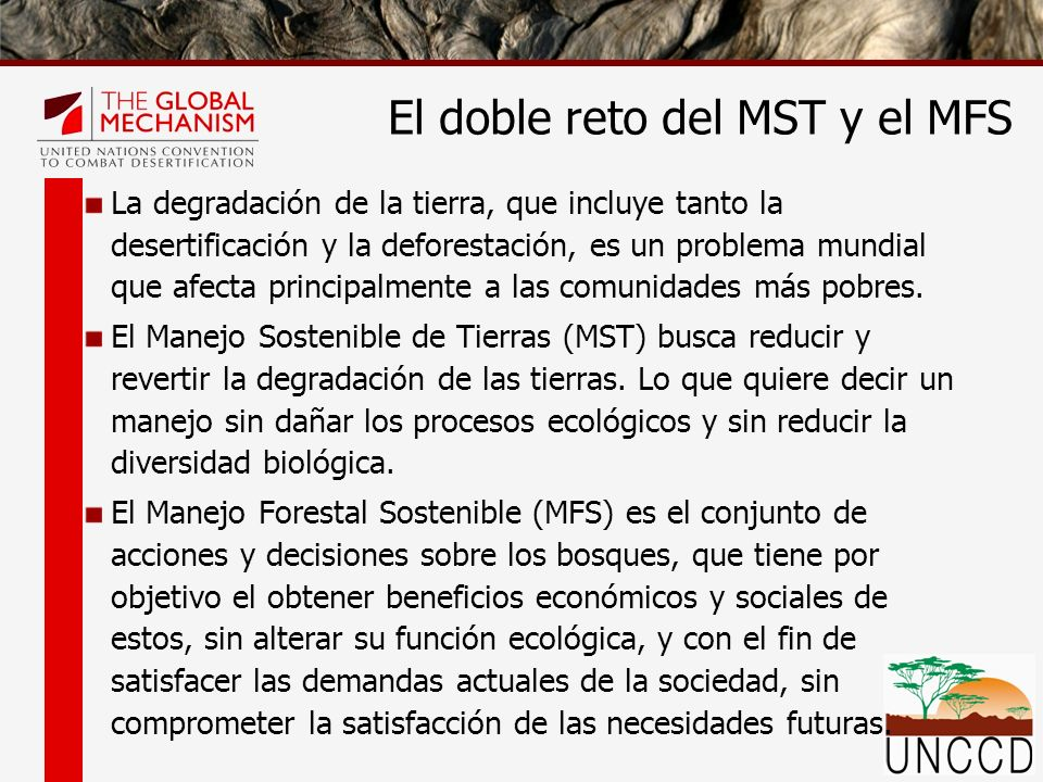 Respuestas similares son encontradas para combatir la deforestación, la degradación de os recursos naturales y la desertificación con encontradas en: Manejo Forestal Sostenible (MFS) Manejo Sostenible de Tierras (MST) Pero también encontramos los mismos retos La falta de integración de estos temas en los Planes Nacionales de Desarrollo y las Estrategias o Políticas Nacionales, La falta de movilización de recursos en todos los niveles (Local, Nacional, Subregional, Regional y Global) El doble reto del MST y el MFS