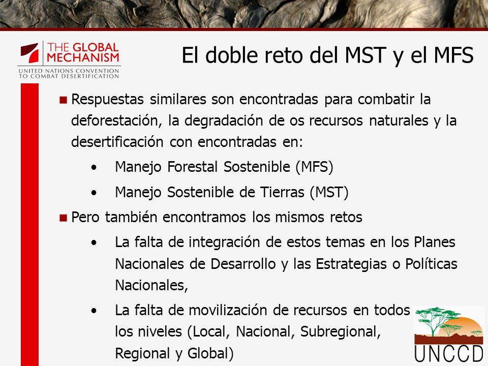 FNUB Instrumento Jurídicamente No Vinculante para todo los tipos de Bosques Programa Multi-anual de trabajo Programas Forestales Nacionales Procesos Globales relacionados con el MST y el MFS UNCCD Convención Internacional Estrategia decenal Programas de Acción Subregional Programas de Acción Nacional Mecanismos Financieros Falta de financiamiento (UNFF 8 – UNCCD COP 10) Baja implementacion de los SRAP, NAP, MYPOW, etc.