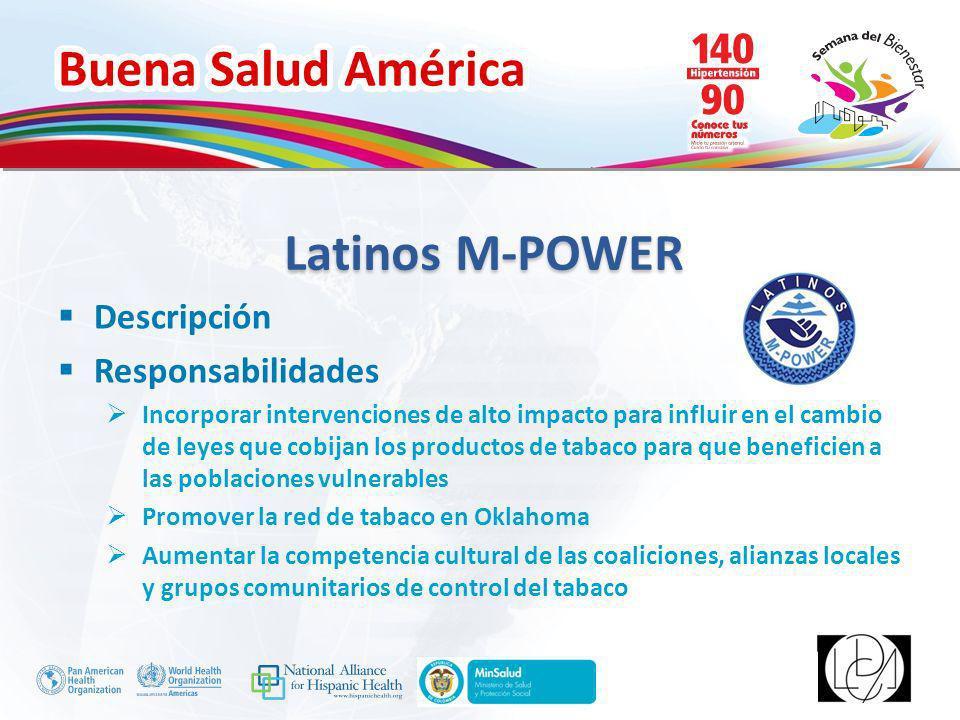 Buena Salud América Inserte su logo Latinos M-POWER Descripción Responsabilidades Incorporar intervenciones de alto impacto para influir en el cambio