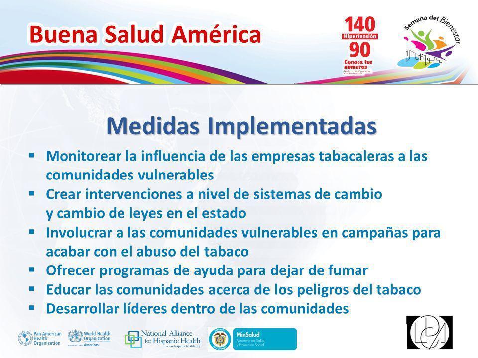 Buena Salud América Inserte su logo Medidas Implementadas Monitorear la influencia de las empresas tabacaleras a las comunidades vulnerables Crear int