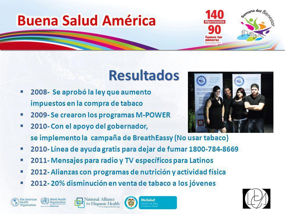 Buena Salud América Inserte su logo 2008- Se aprobó la ley que aumento impuestos en la compra de tabaco 2009- Se crearon los programas M-POWER 2010- C
