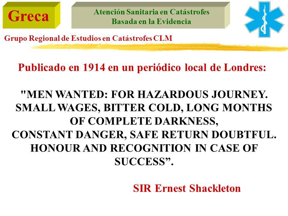Greca Atención Sanitaria en Catástrofes Basada en la Evidencia Grupo Regional de Estudios en Catástrofes CLM Publicado en 1914 en un periódico local d
