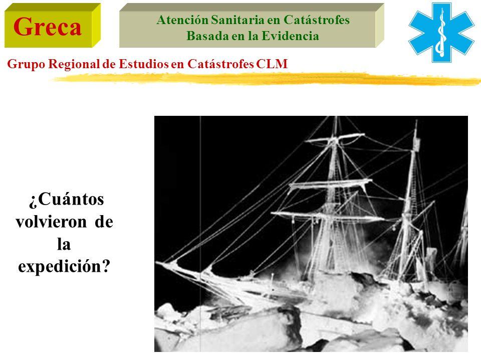 Greca Atención Sanitaria en Catástrofes Basada en la Evidencia Grupo Regional de Estudios en Catástrofes CLM ¿Cuántos volvieron de la expedición?