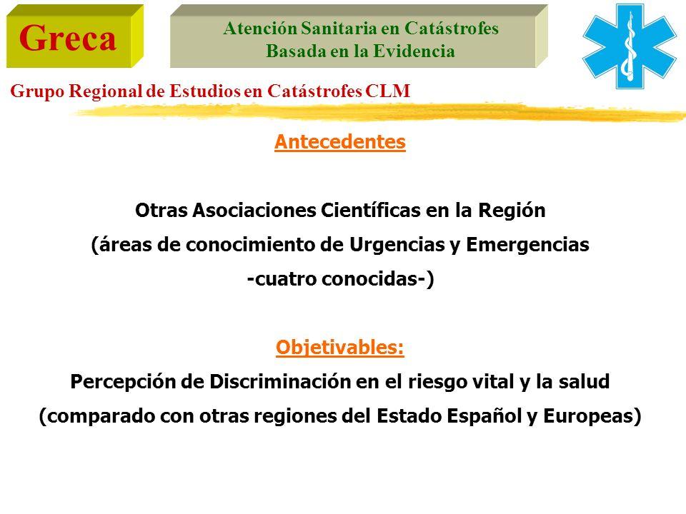 Greca Atención Sanitaria en Catástrofes Basada en la Evidencia Grupo Regional de Estudios en Catástrofes CLM Antecedentes Otras Asociaciones Científic