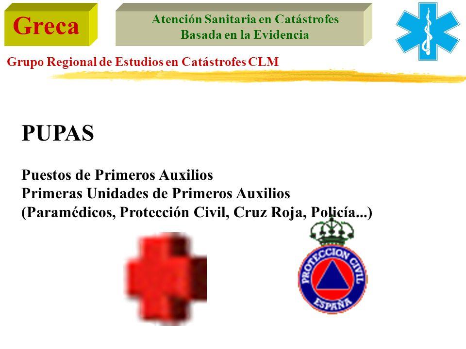 Greca Atención Sanitaria en Catástrofes Basada en la Evidencia Grupo Regional de Estudios en Catástrofes CLM PUPAS Puestos de Primeros Auxilios Primer