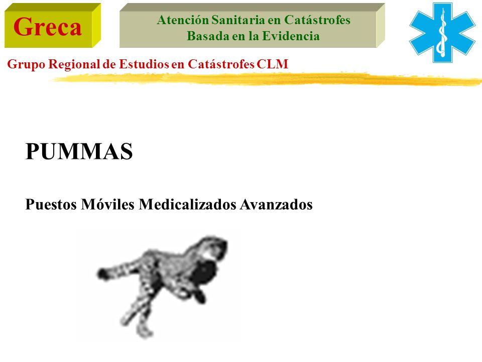 Greca Atención Sanitaria en Catástrofes Basada en la Evidencia Grupo Regional de Estudios en Catástrofes CLM PUMMAS Puestos Móviles Medicalizados Avan