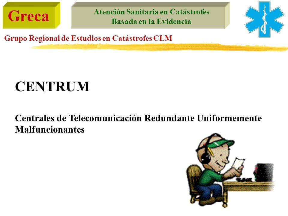 Greca Atención Sanitaria en Catástrofes Basada en la Evidencia Grupo Regional de Estudios en Catástrofes CLM CENTRUM Centrales de Telecomunicación Red