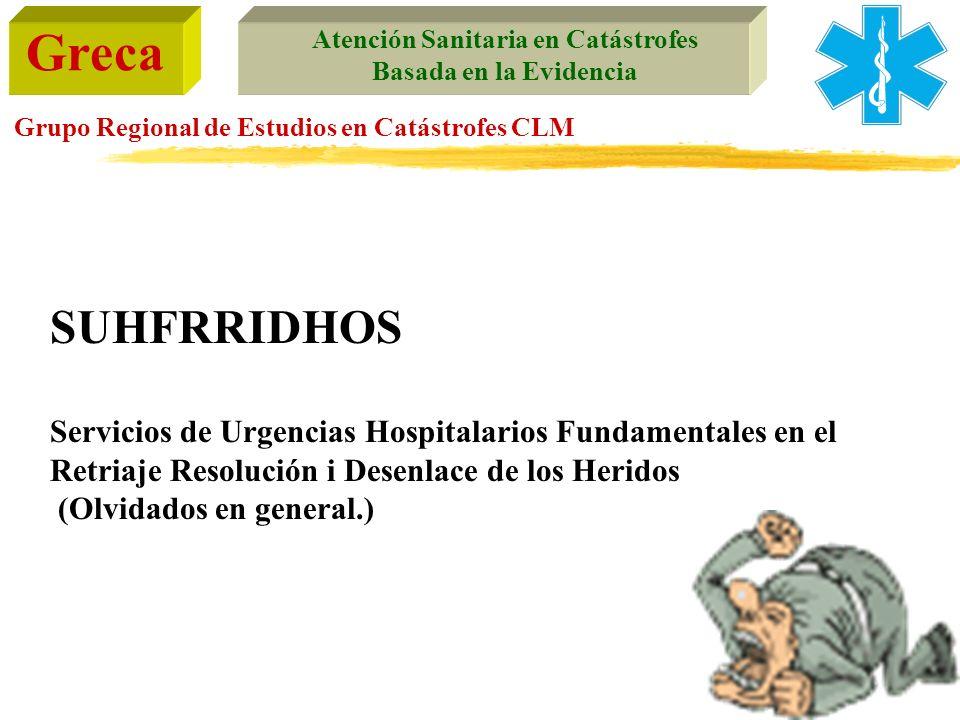 Greca Atención Sanitaria en Catástrofes Basada en la Evidencia Grupo Regional de Estudios en Catástrofes CLM SUHFRRIDHOS Servicios de Urgencias Hospit