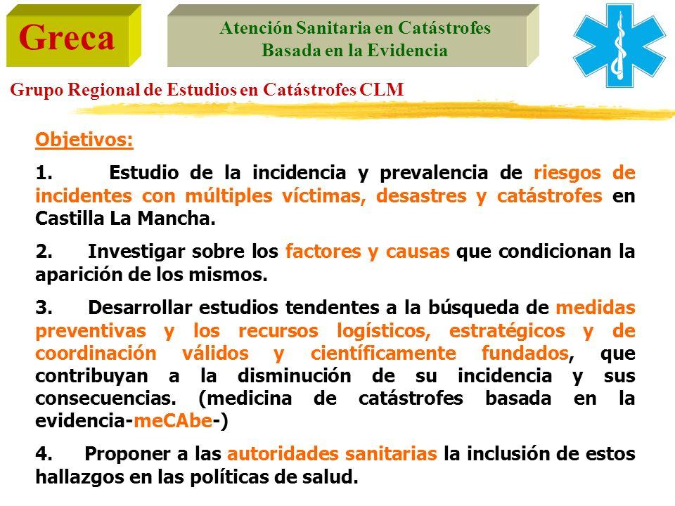 Greca Atención Sanitaria en Catástrofes Basada en la Evidencia Grupo Regional de Estudios en Catástrofes CLM Objetivos: 1. Estudio de la incidencia y