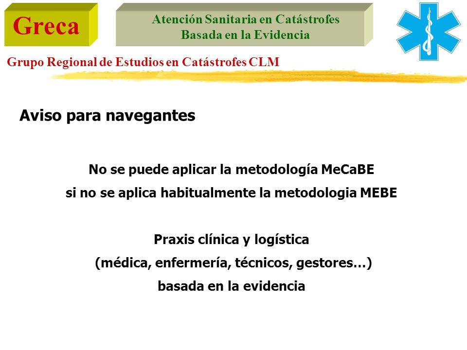 Greca Atención Sanitaria en Catástrofes Basada en la Evidencia Grupo Regional de Estudios en Catástrofes CLM No se puede aplicar la metodología MeCaBE
