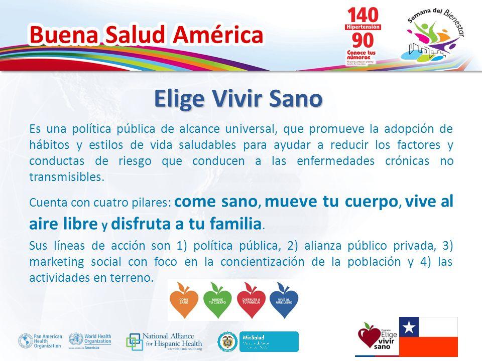 Buena Salud América Elige Vivir Sano Encabeza políticas, planes y programas que contribuyen a la reducción de la obesidad y promueven la vida sana.
