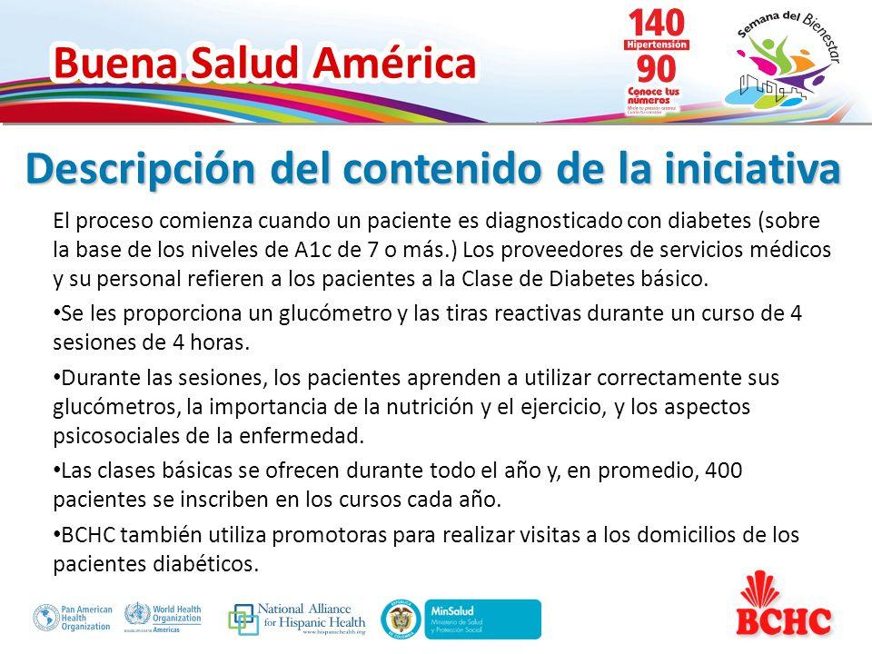 Buena Salud América Acciones concretas implementadas: El departamento de diabetes de BCHC ofrece clases de diabetes de manejo de grupo, clases de ejercicios y nutrición, así como asesoramiento individual por un nutricionista.