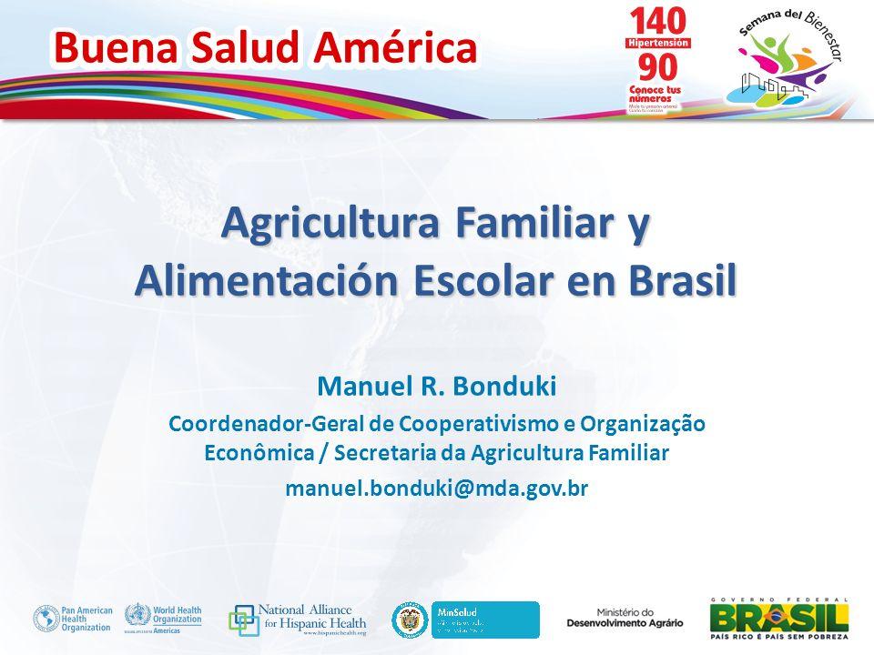 Buena Salud América Inserte su logo Agricultura Familiar y Alimentación Escolar en Brasil Manuel R. Bonduki Coordenador-Geral de Cooperativismo e Orga