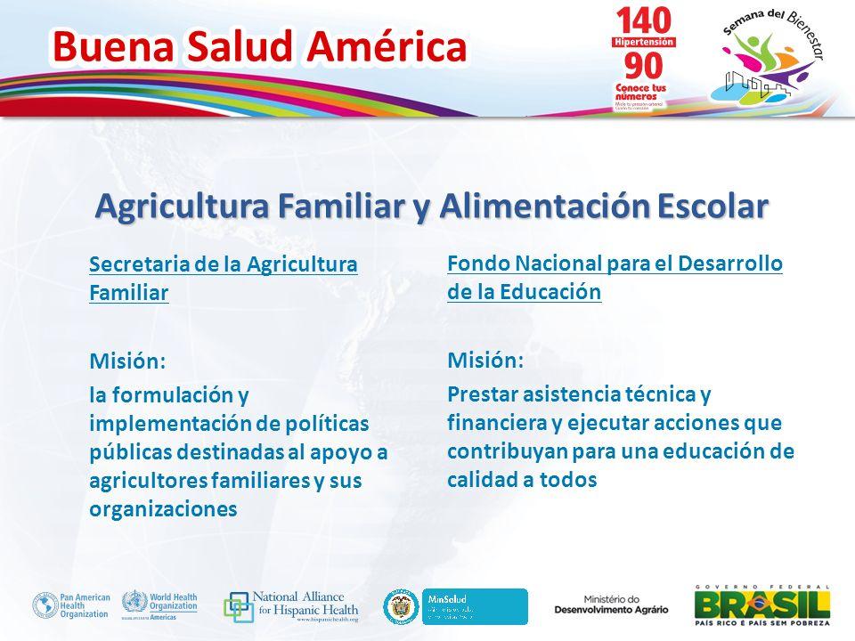 Buena Salud América Inserte su logo Agricultura Familiar y Alimentación Escolar Fondo Nacional para el Desarrollo de la Educación Misión: Prestar asis