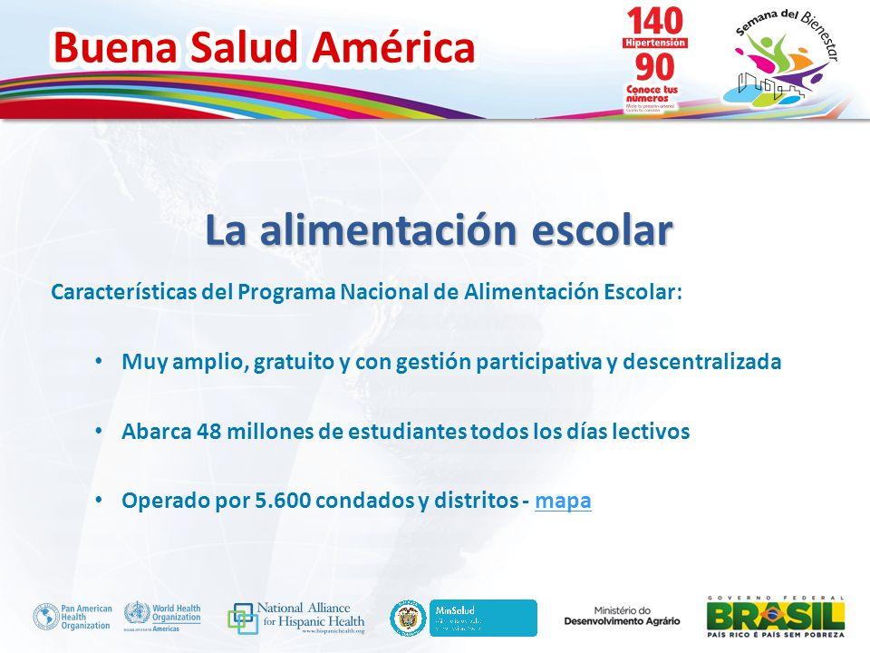 Buena Salud América Inserte su logo La alimentación escolar Características del Programa Nacional de Alimentación Escolar: Muy amplio, gratuito y con