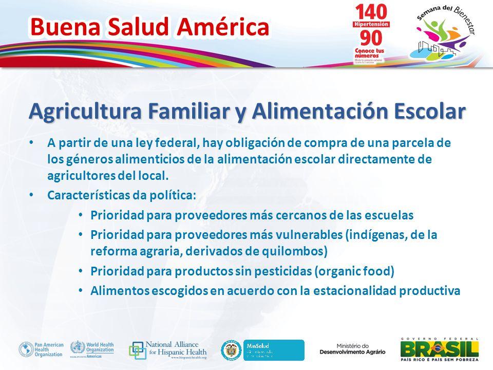 Buena Salud América Inserte su logo Agricultura Familiar y Alimentación Escolar A partir de una ley federal, hay obligación de compra de una parcela d