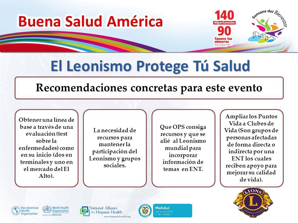 Buena Salud América Inserte su logo Recomendaciones concretas para este evento Obtener una línea de base a través de una evaluación (test sobre la enf