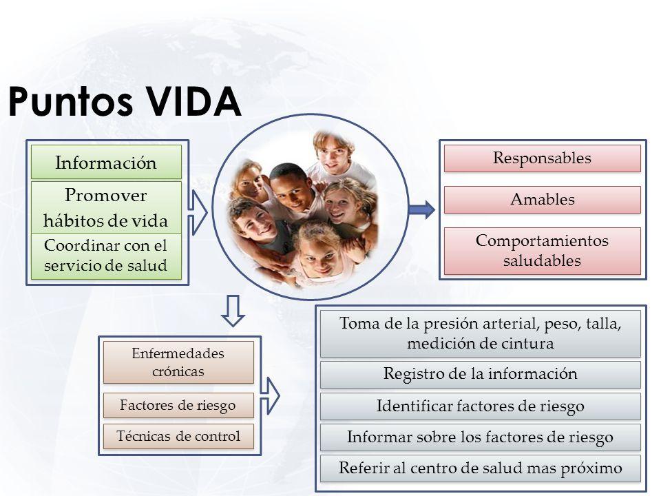 Puntos VIDA Información Promover hábitos de vida saludables Coordinar con el servicio de salud Responsables Amables Comportamientos saludables Enferme