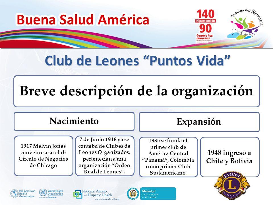 Buena Salud América Inserte su logo Club de Leones Puntos Vida Breve descripción de la organización Nacimiento 1917 Melvin Jones convence a su club Ci