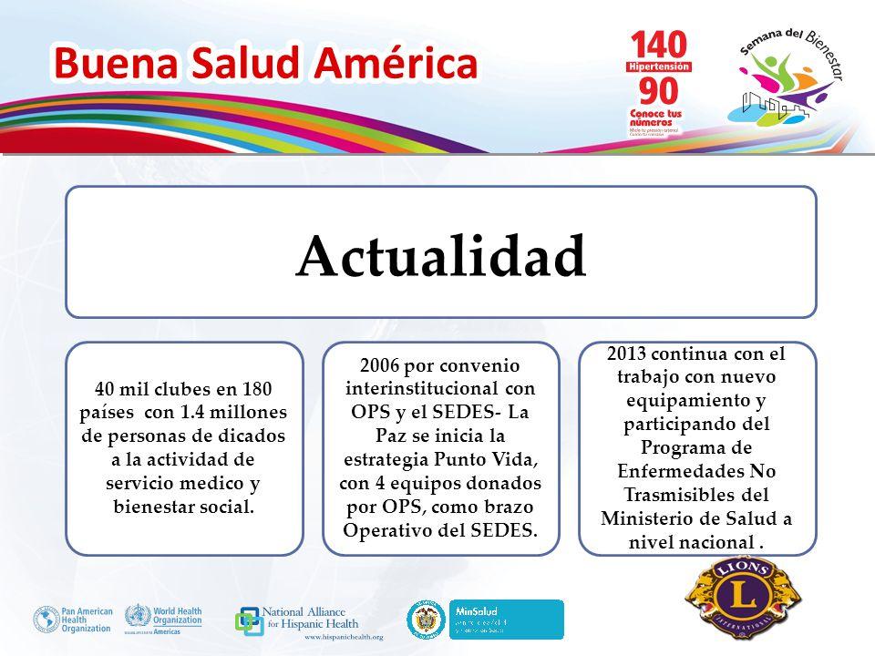 Buena Salud América Inserte su logo Actualidad 40 mil clubes en 180 países con 1.4 millones de personas de dicados a la actividad de servicio medico y